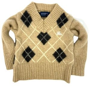 Kids Burberry V-Neck Pullover Sweater Lambswool 24